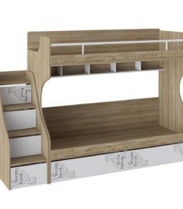 """Кровать 2-х ярусная с лестницей приставной ящик """"Оксфорд"""""""