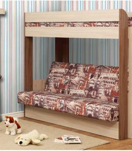 Если вам одновременно нужны двухъярусная кровать и диван-книжка для детской комнаты, то данное изделие - то что вам нужно. Нижний ярус такой конструкции – это классический раскладной диван со спальным местом, под которым находится вместительный ящик для постельных принадлежностей. Наверх ведёт расположенная в торце кровати вертикальная лесенка с четырьмя перекладинами. Верхнее спальное место меньше по ширине, чем нижнее и оборудовано предохраняющими от падения бортиками. Конструкция кровати позволяет сборку для лево- и правосторонней установки.