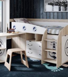 Кровать комбинированная «Немо» (Дуб сонома/Белый)