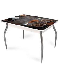 """Стол обеденный раздвижной со стеклом """"Кофе"""""""