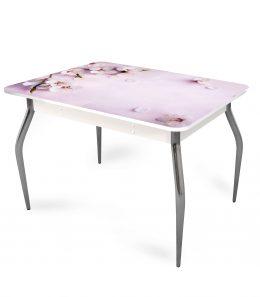 """Стол обеденный раздвижной со стеклом """"Цветы"""""""