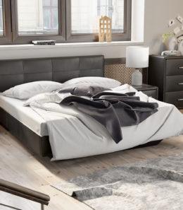 Кровать «Элис» c мягкой обивкой тип 1 (Темная)