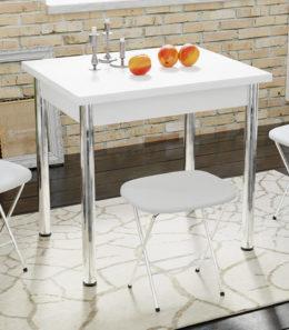 Стол «Родос» Тип 2 с опорой d50 (Хром/Белый)