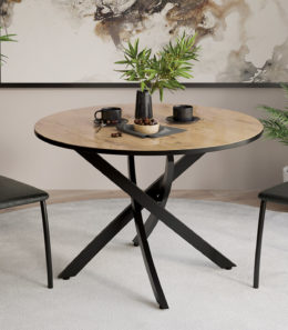 Стол обеденный «Diamond» Тип 2 (Черный муар/Бунратти глянец)