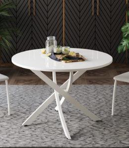 Стол обеденный «Diamond» Тип 2 (Белый муар/Белый глянец)