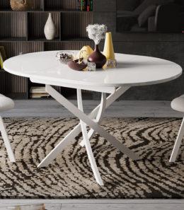 Стол обеденный «Diamond» Тип 3 (Белый муар/Белый глянец)