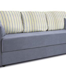 Диван «Поло» (Classic 08 серо-голубой подушки Strip 05)